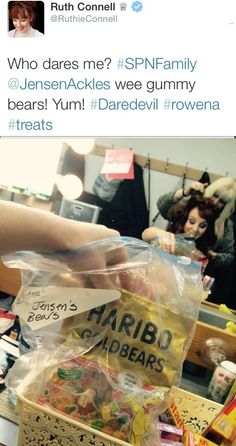 Sitting in the makeup chair, does Ruth Connell dare eat Jensen's gummy bears??  Brave woman #spntweets #jensenackles #supernatural
