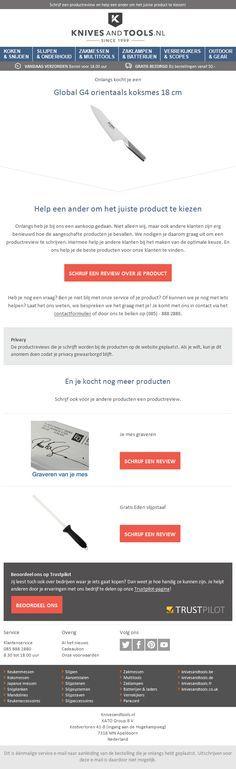 knivesandtools.nl - Mooie product review mail met onderaan ook de mogelijkheid om de webwinkel zelf te beoordelen via Trustpilot. Om
