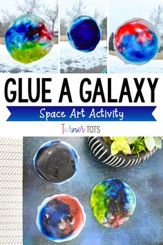 This process art activity is perfect to add to your space art center. These glue galaxies are easy art activities for preschoolers, pre-k students, or kindergarteners. Just use liquid glue and food coloring to set up this art project for toddlers. Your students will love swirling the colors to make a galaxy with this space art project. Click to see even more space art activities in action! Space Theme Preschool, Space Activities For Kids, Preschool Art Activities, Everything Preschool, Outer Space Theme, Galaxy Theme, Toddler Art Projects, Creative Arts And Crafts, Easy Art