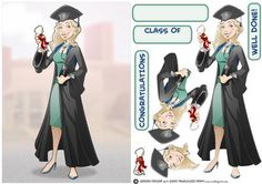 Graduation Lady Doctor  on Craftsuprint designed by Gordon Fraser - Congratulations all round for this graduate Doctor as shes passed her final exams! Easy to make with decoupage, blank and sentiment tiles. More versions of this lady are available. Don't forget to check out my other original designs and Dudes, just click on my name. Thanks for looking! - Now available for download!