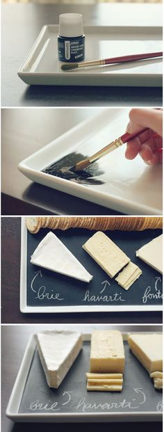 DIY: blackboard plato for cheese/ Δίσκος τυριών μαυροπίνακας | Table Art - Art de la Table