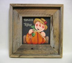 Autumn Scarecrow with Orange Pumpkin Framed by barbsheartstrokes,