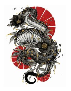 Image of Inktober Day Poisonous Print Tatoo Snake, Snake Art, Japanese Snake Tattoo, Japanese Tattoo Designs, Japan Tattoo Design, Japanese Dragon, Tattoo Sketches, Tattoo Drawings, Art Drawings
