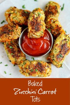 One bite of Baked Zucchini Carrot Tots, and you'll forget all about traditional tater tots! These bites are loaded with veggies, plus a little cheese, for a wonderfully savory side or snack that your kids will love as well. And yes they are baked, not fried, so you can eat them without the guilt #zucchini #carrots #cheese #veggietots #vegetables #vegetabletots #zucchinitots #snack #appetizer #bakedveggietots