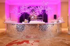 A mirror covered bar at your wedding reception is fun, hip, trend and elegant all in one. Pair with lighting for an amazing effect.