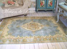 Romantic, traditional French Aubusson style 1:12 Scale Dollhouse Miniature Handmade Vintage-style Shabby Chic Rug - French Blue - x.lg