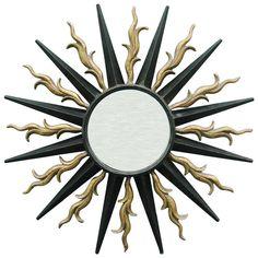 Wall Mounted Sunburst Mirror in the style of Gilbert Poillerat | 1stdibs.com