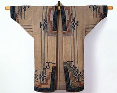 Unknown Ainu Artist, Woman's Robe, late 19th-early 20th century (Late Edo-Meiji period). Elm bark fiber cloth (attush) with appliqué and emb...