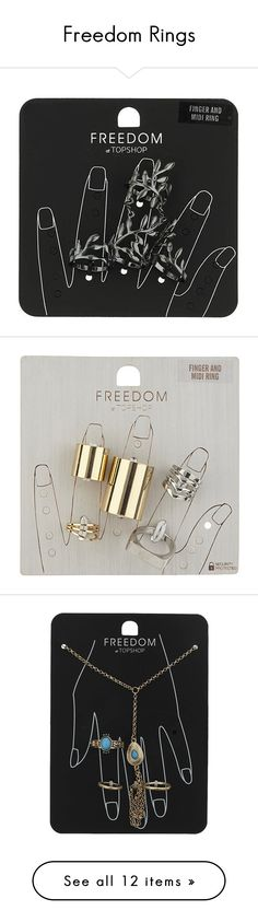 """""""Freedom Rings"""" by mathildasarah ❤ liked on Polyvore featuring topshop, rings, freedom, jewelry, fillers, gunmetal, midi rings, topshop rings, set rings and leaf midi ring"""