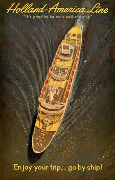 Original vintage travel poster for Holland America Cruise Line