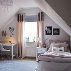 attic remodel ideas attic remodel ideas # - Sovrum inspo - Home Renovation Dream Rooms, Dream Bedroom, Girls Bedroom, Bedroom Colors, Bedroom Decor, Ideas Habitaciones, Attic Remodel, Attic Renovation, My New Room