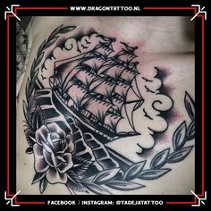 Traditional ship Black and grey tattoo. Designed and Tattooed by: Tadeja Dragon Tattoo Tattoo Portfolio, First Tattoo, Black And Grey Tattoos, Color Tattoo, Dragon, Ship, Traditional, Design