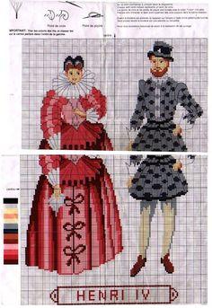 0 point de croix mode femme homme epoque Henri IV - cross stitch fashion lady and man at the Henri IV era