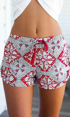Spring & SUMMER FASHION TRENDS 2017!  Geometric grey and red drawstring shorts #sponsored STITCH FIX