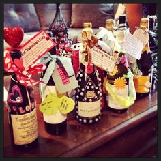 shower gift - a bottle of wine for every holiday in the first year of marriage. Cute! ~I did a similar idea- a bottle of wine for every wedding anniversay for 5 years.~