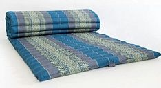 Design by UnseenThailand Roll Up Thai Mattress, Kapok Fabric, Premium Double Stitched, 79x30x2 inches. (Black Blue Aqua)