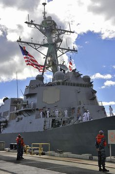 130214-N-WF272-041 PEARL HARBOR (Feb. 14, 2013) The Arleigh Burke-class guided-missile destroyer USS Halsey (DDG 97) arrives at Joint Base Pearl Harbor-Hickam after a hull swap with guided-missile destroyer USS Russell (DDG 59). Hull swaps, or ship rotations, are part of the Navy's long-term plan to routinely replace older ships with newer more capable ships. (U.S. Navy photo by Mass Communication Specialist 3rd Class Diana N. Quinlan/Released)
