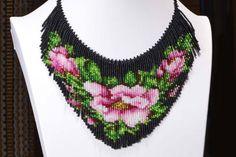 seed bead necklace Tea Rose beadwork necklace beadweaving