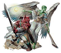 Hound_Archon_and_Trumpet_Archon_by_Wayne_Reynolds-D_3ed_(2003)_WOTC_-_Monster_Manual_I_(v3.5).jpg (400×348)