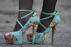 I love this blue with flowers pattern! The straps are also so cute! Not sure that I would wear it with tights though