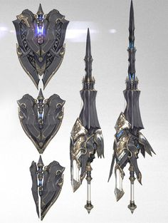 Anime Weapons, Sci Fi Weapons, Weapon Concept Art, Armor Concept, Weapons Guns, Fantasy Sword, Fantasy Armor, Fantasy Weapons, Dark Fantasy