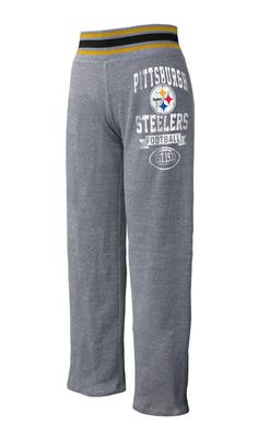 Pittsburgh Steelers Women's Tri Blend Stripe Trim Grey Pant - Official Online Store
