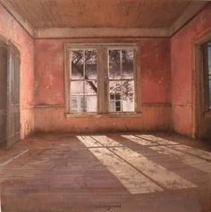 "Italian artist, Matteo Massagrande created this desolate interior called ""Red Room."" I challenge you to look at this painting metaphorically. Red Rooms, Empty Room, Italian Artist, Beautiful Paintings, Pastel Paintings, Abandoned Places, Abandoned Buildings, Windows And Doors, Interior And Exterior"