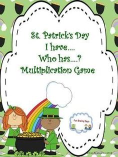 St. Patrick's Day I have.. Who has.. ? Game to practice multiplication with the entire class. This include 32 cards . I included a colored and black and white version of the same cards. So for those who can not print in colored this is also for you. (scheduled via http://www.tailwindapp.com?utm_source=pinterest&utm_medium=twpin&utm_content=post31762380&utm_campaign=scheduler_attribution)