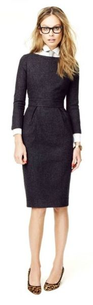 loving everything: glasses, tie, collared shirt under dress, leopard pumps. www.thestyleup.com