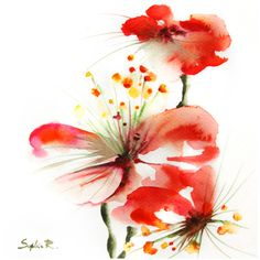 Reach for the Sky Art Print of Original Watercolour Painting Red... (980 RUB) ❤ liked on Polyvore featuring home, home decor, wall art, flowers, backgrounds, decor, fillers, red painting, flower home decor and red wall art