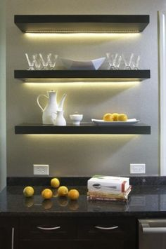 kitchen floating shelves with lighting