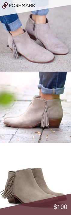 """NEW Sam Edelman Booties Adorable Sam Edelman Paige booties with a side zip and fringe!!! Color is """"putty"""". These are so perfect for fall! Fits TTS. Open to reasonable offers! Sam Edelman Shoes Ankle Boots & Booties"""