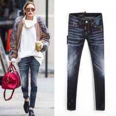 47.30$  Watch now - http://aliils.worldwells.pw/go.php?t=32757935428 - Autumn new arrival 2016 personalized women's slim skinny jeans trousers retro finishing