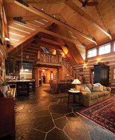 Log cabin interior. Teresa I like this floor.