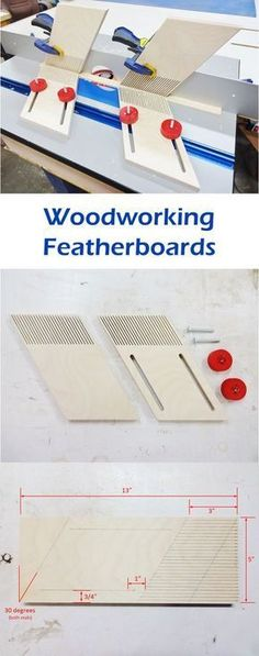 Table Saws Featherboards are like extra sets of hands in the wood shop. They are generally used to hold smaller work pieces safely in place while feeding the work piece to the blade, typically for applications on router tables and table saws. Woodworking Table Saw, Jet Woodworking Tools, Woodworking Patterns, Woodworking Workshop, Custom Woodworking, Woodworking Projects, Woodworking Furniture, Woodworking Apron, Woodworking Inspiration