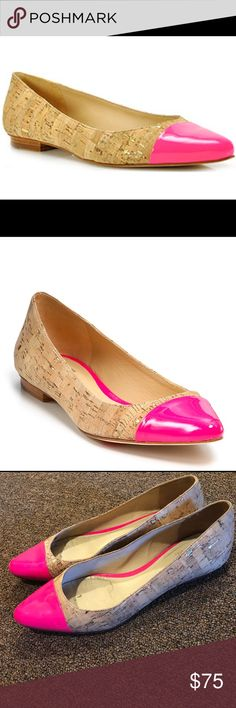 Kate Spade New York Elina Cork Flats Kate Spade New York Elina Cork Flats with Pink Cap Toe in Great Condition with minor Mark on the front (see pics). kate spade Shoes Flats & Loafers