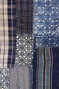 Japanese Vintage Textile Cotton Boro Futonji Indigo #Beachwood blue