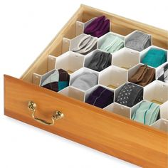 Simplify honeycomb design drawer organizer great for bedrooms, closets, kitchens, dorms and offices.The honeycomb divider is great for storing smaller items that tend to get lost in drawers Creates compartmentalized storage Office Desk Organization, Sock Organization, Dresser Drawers, Storage Drawers, Storage Spaces, Storage Ideas, Storage Boxes, Organizing Drawers, Sock Storage
