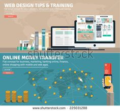 Flat design concepts for business web design tips, freelance, online money transfer, global market, education, e banking,e commerce. Concepts and icons for web banners, apps and promotional materials. - stock vector