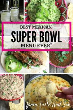 Serve this Mexican Super Bowl Fiesta and your guests will probably forget there's a game on TV!  Slow Cooker Beef Barbacoa, Queso Fundido With Chorizo, Salsa Suprema, Homemade Refried Beans, Mexican Pizzas, and The Elderflower Margarita - it's all here!