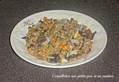 Coquillettes aux petits pois et au jambon - 7 PP  1 échalote ** 150 g de champignons de paris ** 140g de petits pois ** 140g de maïs doux 1cc de fond de veau 1cc d'huile d'olive vierge ** 150g de coquillettes crues 10 cl de vin blanc ** 75 g de dés d'épaule dégraissée 1CS de crème allégée épaisse à 5% 30g de parmesan râpé Sel  et  poivre