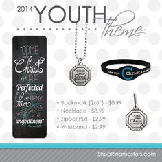 """""""Come unto Christ and be perfected in him and deny yourselves of all ungodliness"""" Moroni 10:32. 2014 Youth theme products for LDS Young Men and Young Women.  Great products, great price! Perfect for Youth Conference, Girls Camp, Trek, you name it!"""