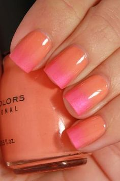 summery orange and pink ombre nails - cool that the metallic pink is matte