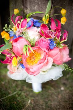 Gorgeous bouquet of peonies, roses, gloriosa lillies, delphinium, scabiosa, and more!