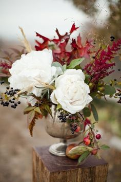 Fall decor inspiration.  Re-create this look with either fresh flowers or quality silk flowers with the help of one of our talented designers here at Lexington Floral