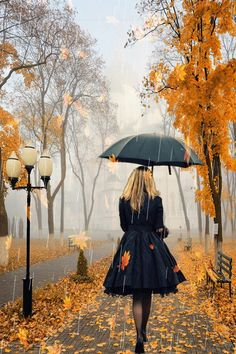DIY Diamond Painting,Dartphew Autumn Maple Street with Rain & Umbrella Lady - Crafts & Sewing Cross Stitch,Wall Stickers for Home Living Room Rain Umbrella, Under My Umbrella, Black Umbrella, Walking In The Rain, Singing In The Rain, I Love Rain, Autumn Rain, Autumn Leaves, Autumn Nature