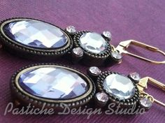 Vintage Inspired Purple and White Crystal Drop Earrings on Etsy, $23.00
