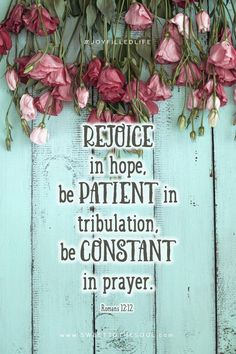 Be joyful in hope, patient in tribulation, constant in prayer. Romans 12:12