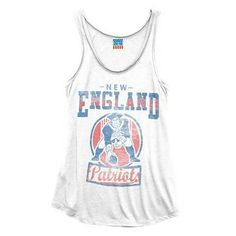 Official New England Patriots ProShop - Ladies Junk Food Throwback Touchdown Tank-White