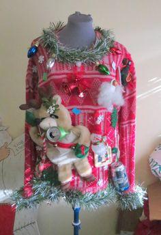 Hysterical Hillbilly Redneck 3-D Reindeer Beer Can Holder koozie Lite up Snowman Tacky Ugly Christmas Sweater Women Mens Sz L Hodge Podge